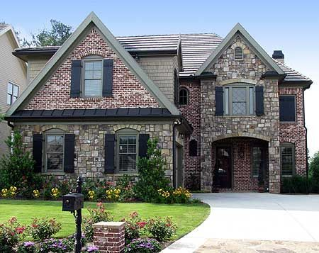 Image result for brick house with austin stone accents for Houses with stone accents