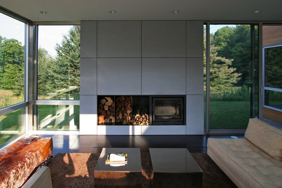 fireplace in fibrecement house on sunset ridge usa arch