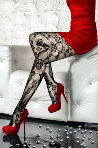 Ripped opaque pantyhose