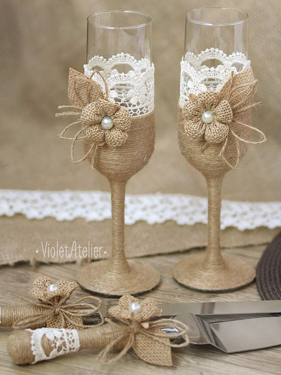 Rustic Wedding Toasting Flutes And Cake Cutting Set With