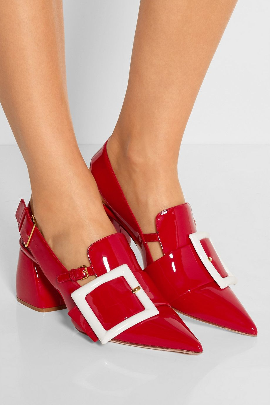 Red Buckled Patent Leather Slingback Pumps Miu Miu In 2020 Dress Shoes Womens Celebrity Shoes Trendy High Heels