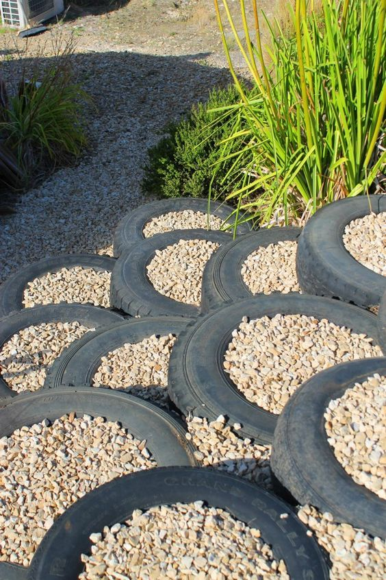 Old Tires Make Great Steps Landscaping Garden Stairs