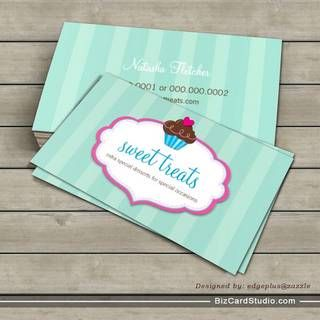 This business card from Sweet Treats is really nice. I like the stripes and how there is just a small contrast between the colors in the stripes. It looks very cute and the small proportion of the strawberry is charming.