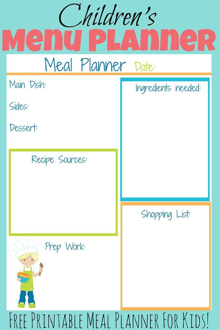 this free printable kid s meal planner will help your child to