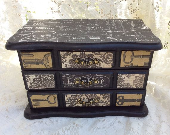 48 Vintage Painted Black Jewelry Box Gothic Steampunk Style