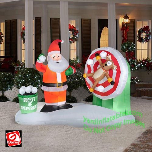 Gemmy Airblown Inflatable Animated Santa Snowball Throwing Scene - inflatable christmas yard decorations