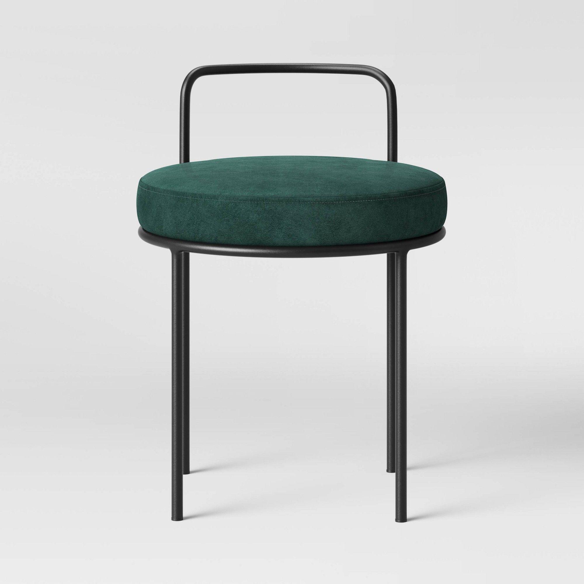 Terrific Velvet Accent Stool With Matte Black Handle Dark Green Machost Co Dining Chair Design Ideas Machostcouk