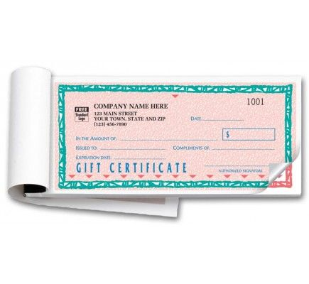 St Croix Custom Gift Certificate Forms Item No HSD862B-2 Size 7 3