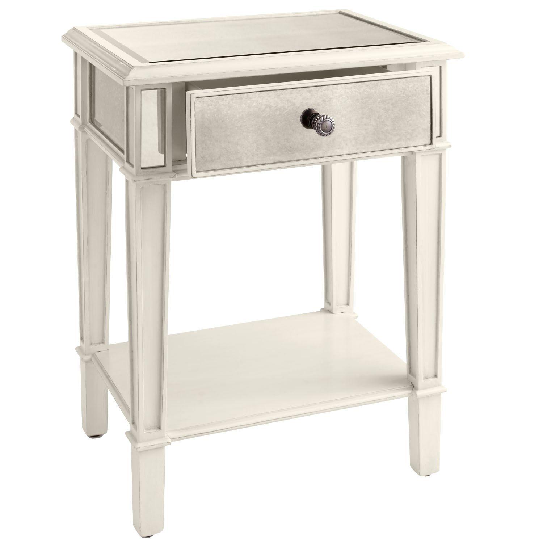 Hayworth Mirrored Silver Nightstand Mirrored Nightstand Bedroom