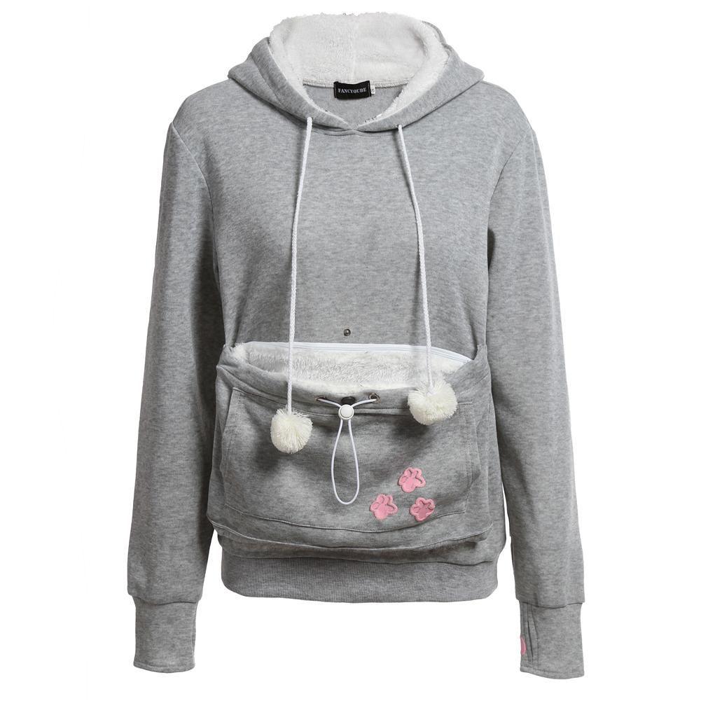 Kangaroo Pouch Pet Cat Dog Pocket Women Hoodie Sweatshirt Jumper Pullover New TO