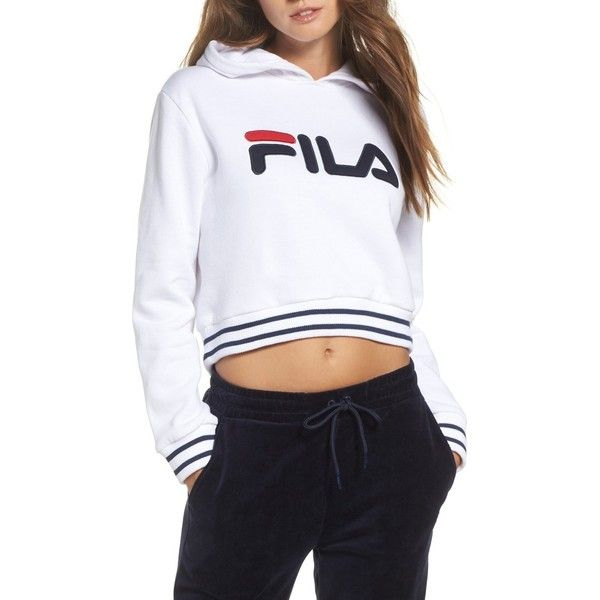 4c24605cd656e Women s Fila Penelope Crop Hoodie (220 BRL) ❤ liked on Polyvore featuring  tops
