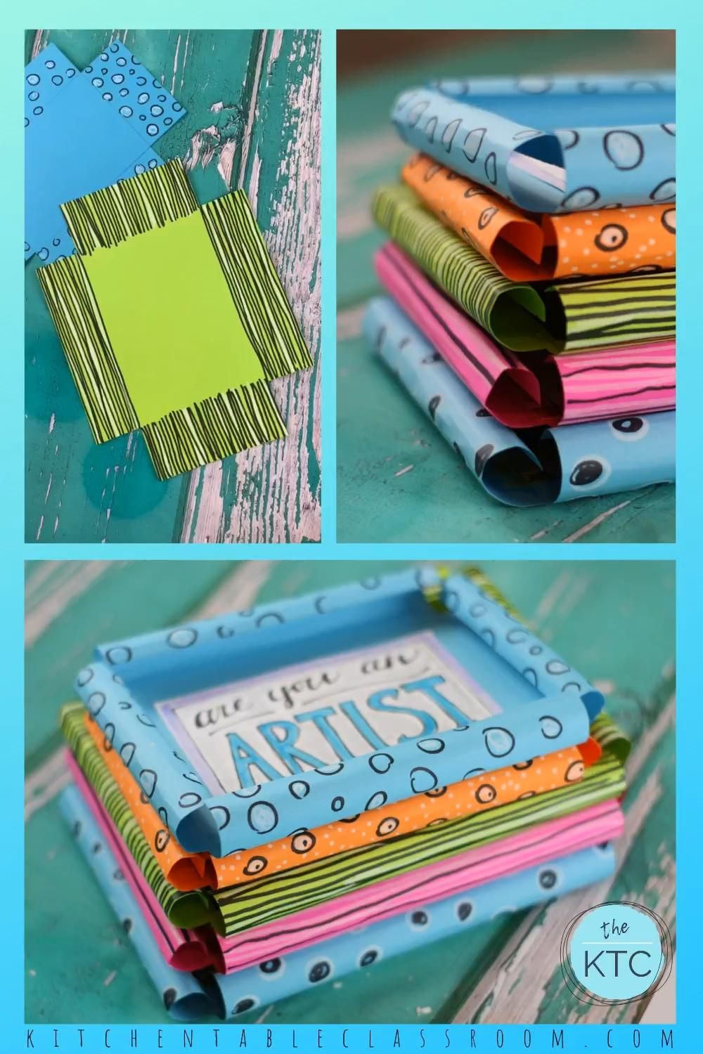 Use my free templates to make this fun paper picture frame craft. #pictureframecraft