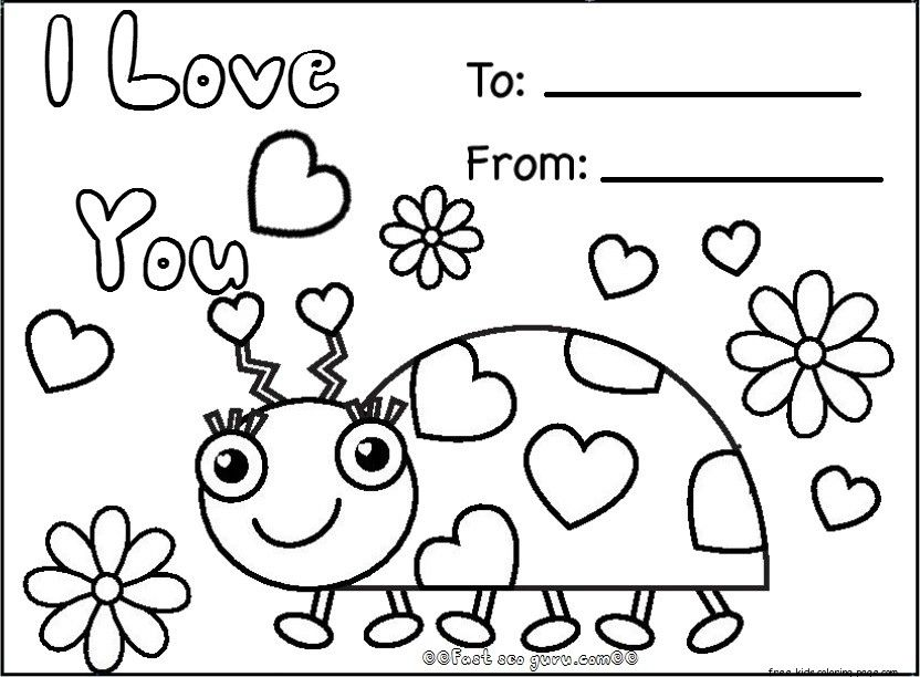 Free happy valentines day cards printables  Valentine coloring
