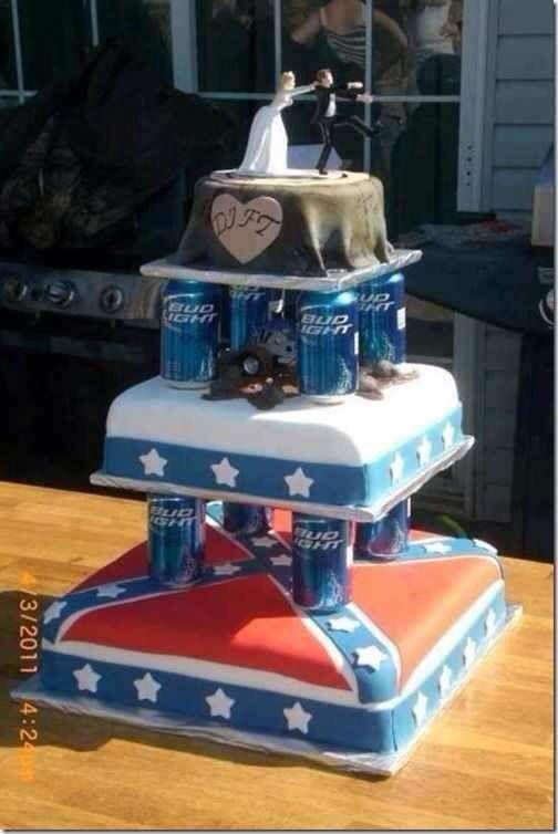 Wedding Cake Grooms Rebel Flag