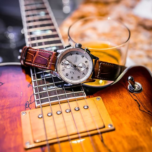 """""""I could drink bourbon and listen to live music every night. The answer is yes, I did ask to borrow the bands guitar for a photo."""" Photo taken by @pbandwatches on Instagram, pinned via the InstaPin iOS App! http://www.instapinapp.com (03/02/2015)"""