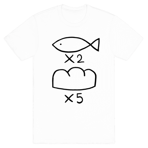 Saint Young Men Fish and Bread T-Shirt   LookHUMAN   business ideas ...