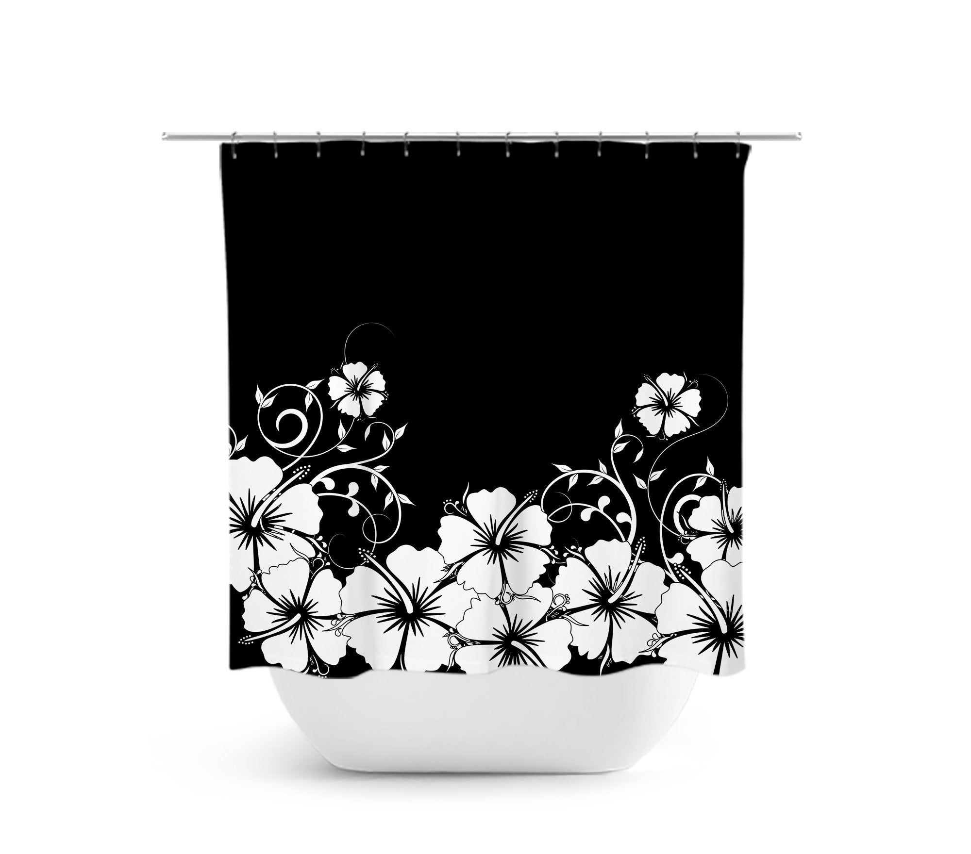 Black Shower Curtain Hibiscus Floral Bath Curtain Fabric Shower