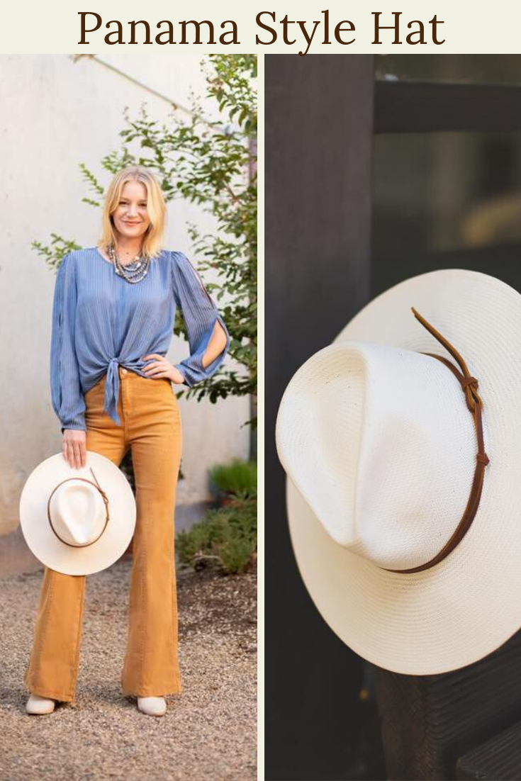 Panama style hat for women made from 100 Toyo Paper making it super lightweight and allowing it to maintain a structured shape Amazing addition to any fall outfit