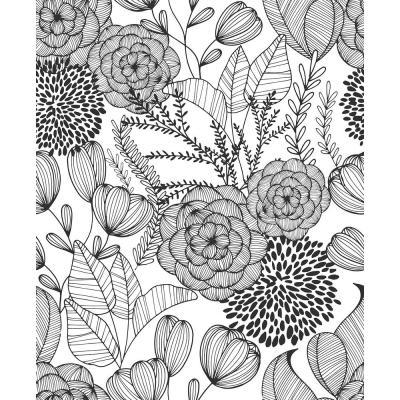 Black Secret Garden Peel And Stick Wallpaper Botanical Wallpaper Brewster Wallpaper Modern Floral Wallpaper