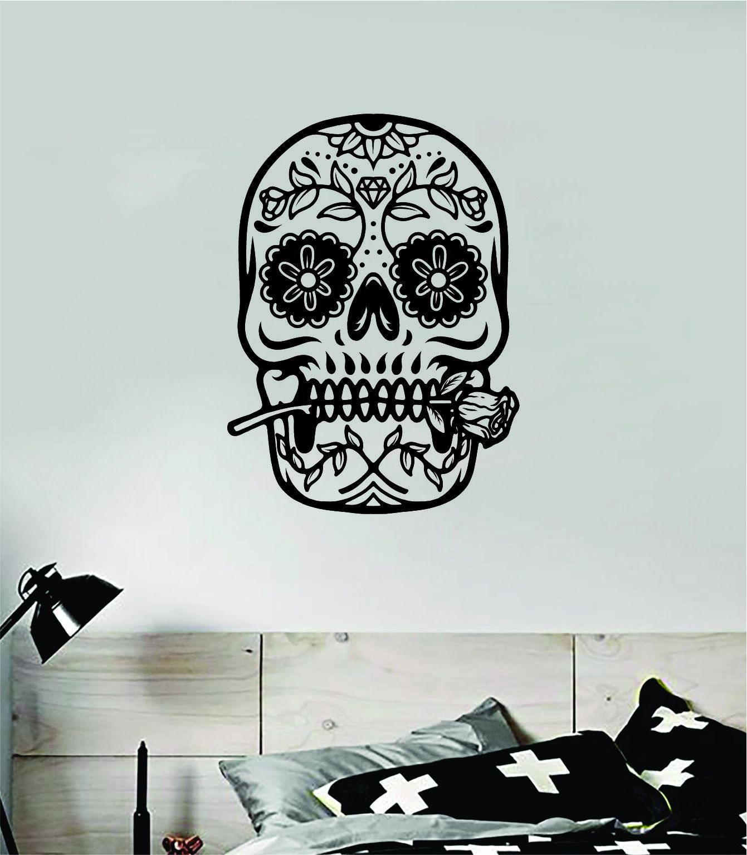 Sugar Skull V17 Art Wall Decal Sticker Vinyl Room Bedroom Home Decor Teen Day of the Dead Rose Zombie - saphire blue
