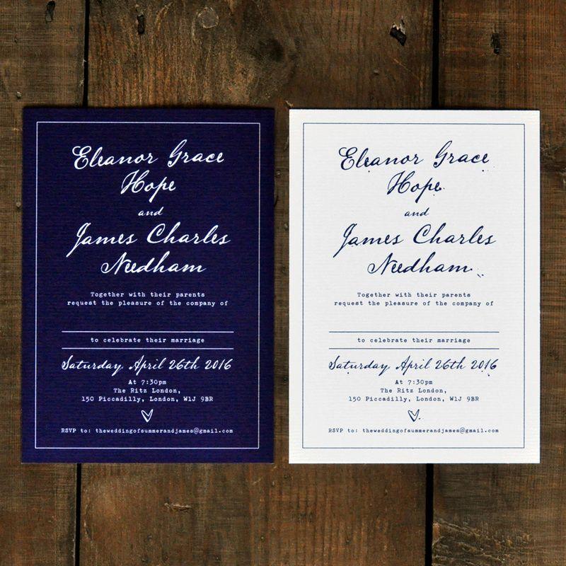 wedding invitation date wording etiquette%0A Fountain Pen  Wedding Invitation Set on Luxury Card  classic wedding  invites  u     save the date cards  Navy Wedding invitations UK