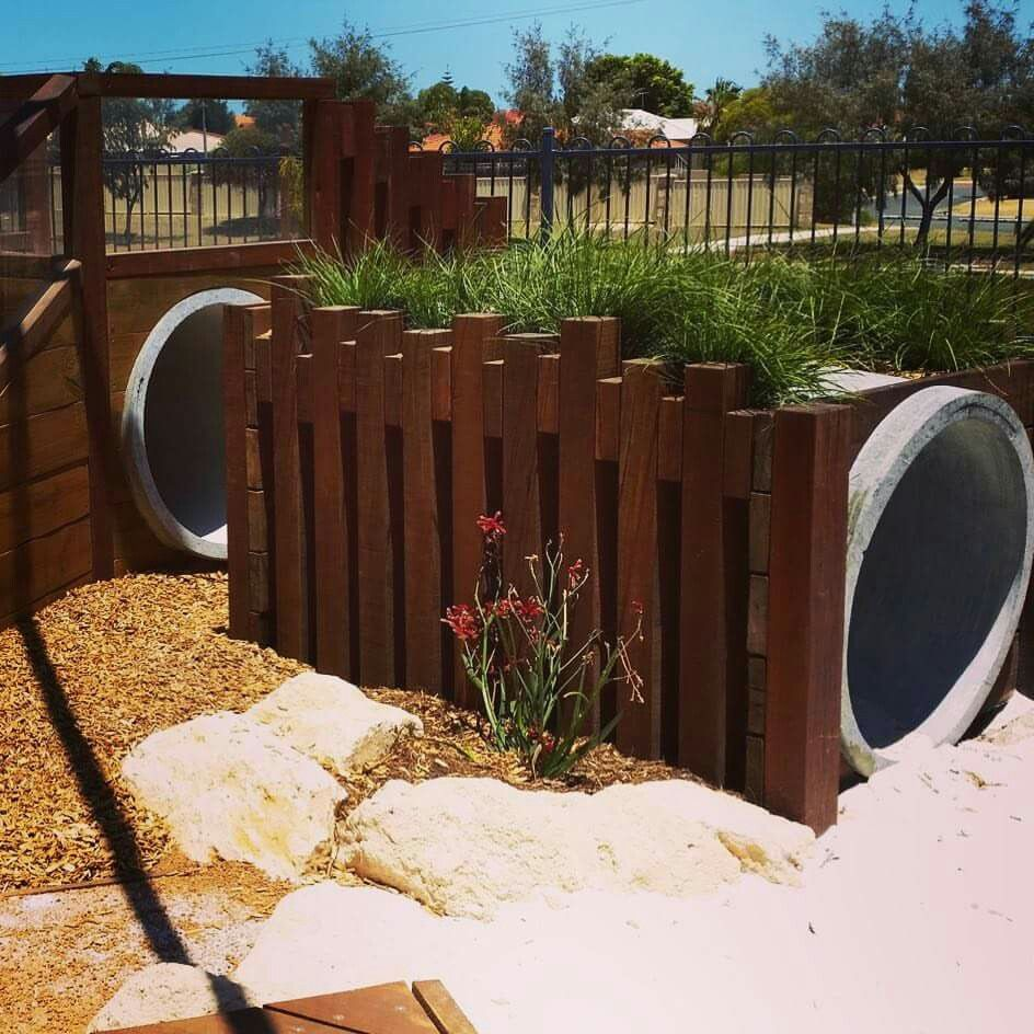 Playground Area Ideas: Nature Playground. Concrete Tunnel Clad With Upright