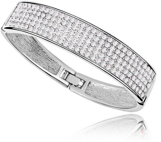 Crystal Journey Platinum Plated Cuff Bracelet Bangle