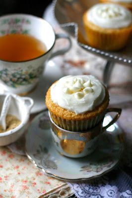 Indigo Scones: White Chocolate Honey Chamomile Cupcakes