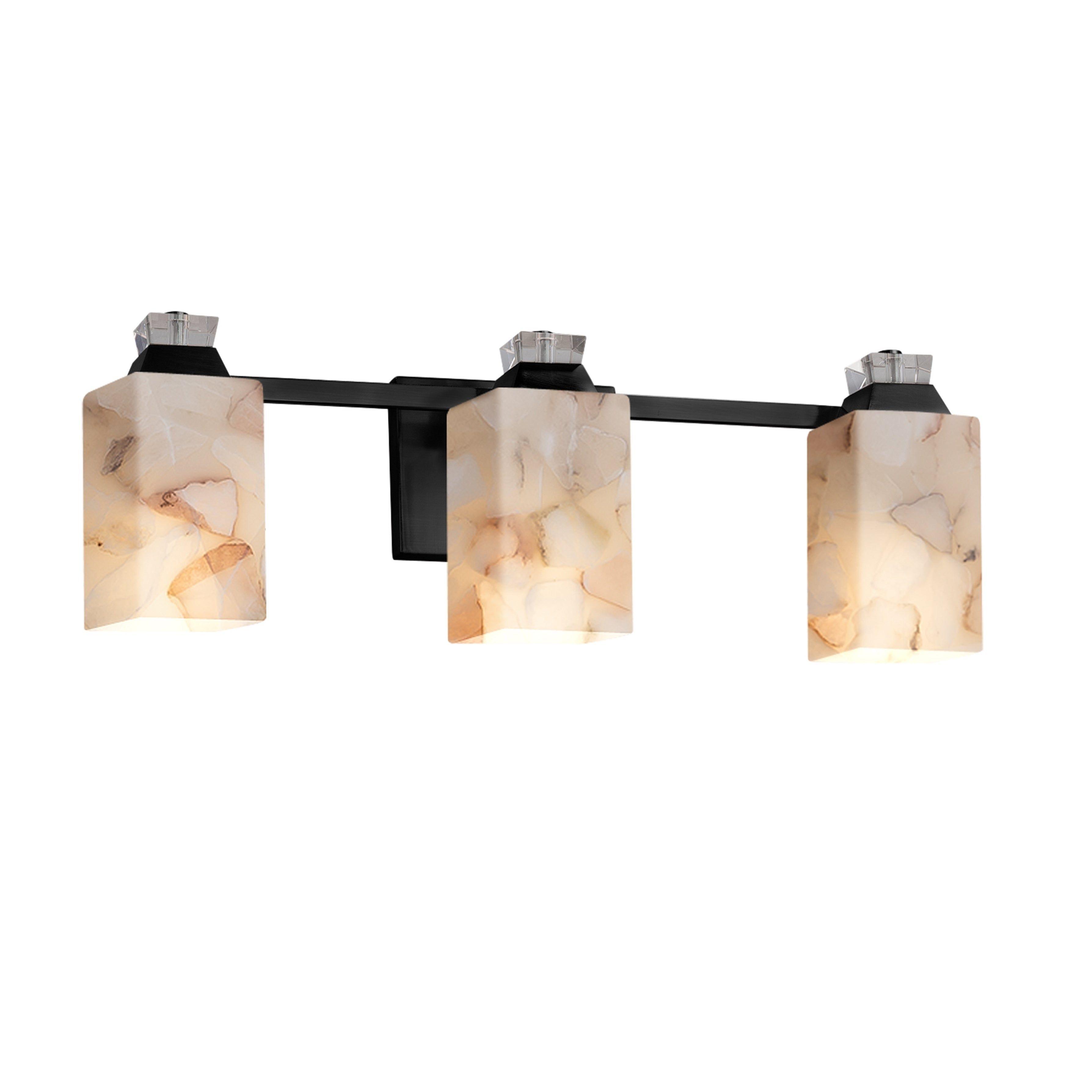 Justice Design Group Alabaster Rocks Ardent 3 Light Matte Black