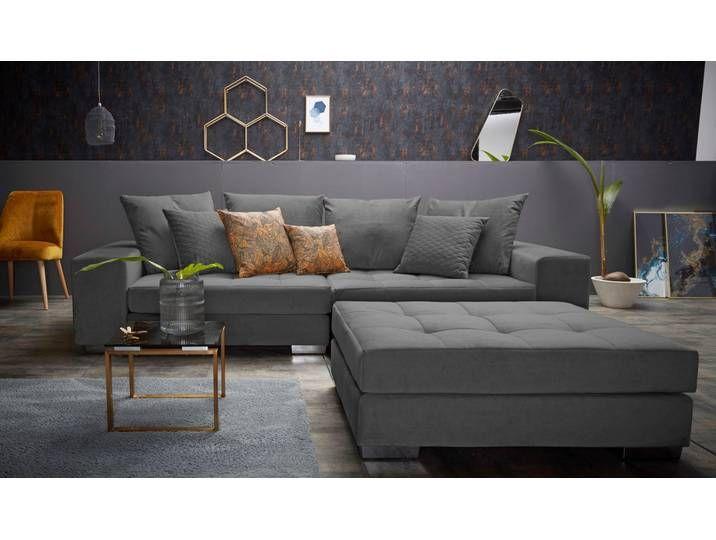 Inosign Bigsofa Vale Grau Samt Inkl Loser Zier Und Ruckenkissen Big Sofas Big Couch Sofa Design
