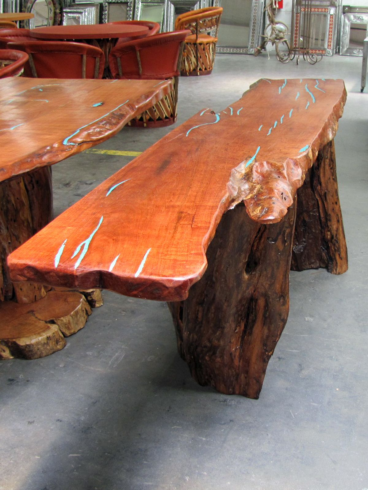 A Unique Mesquite Wood Sofa Table With Turquoise Inlay The Top Is Slab Of Natural Raw Edge And Base Consists Finished