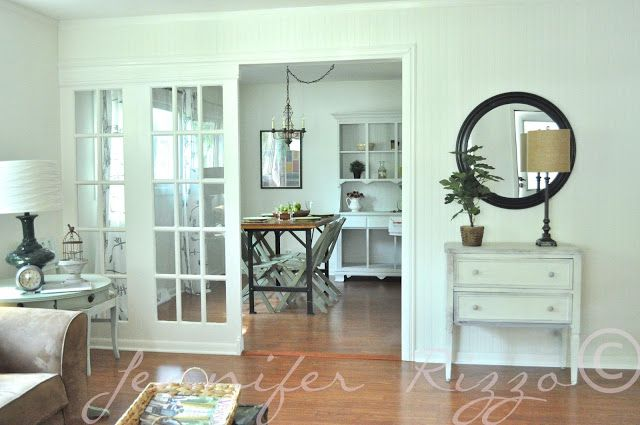 slidiing french door room divider Light and bright cottage living