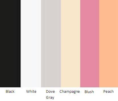 Great Gatsby Color Palette - Black, White, Dove Gray, Champagne, Blush and Peach