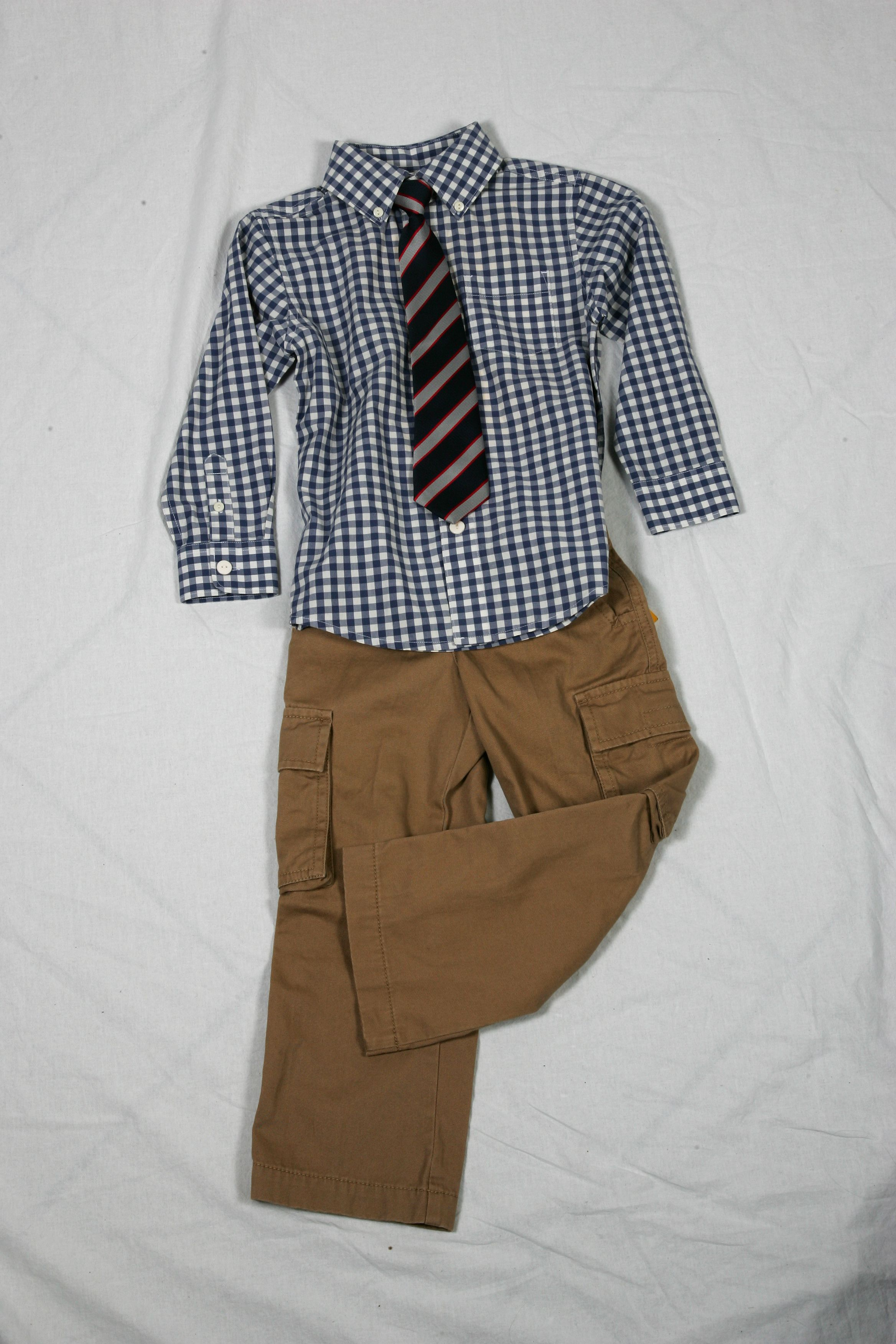 Khaki Cargo Pants Blue Check Button Up Shirt