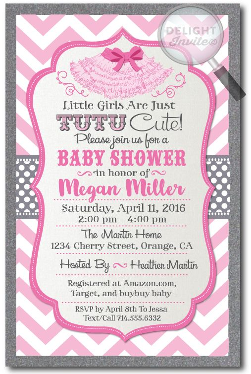 Tutu Cute Baby Shower Invitations For Girls Professionally Printed