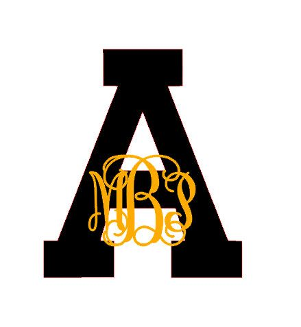 Appalachian State Inspired Monogram Decal by CuttinCrazy
