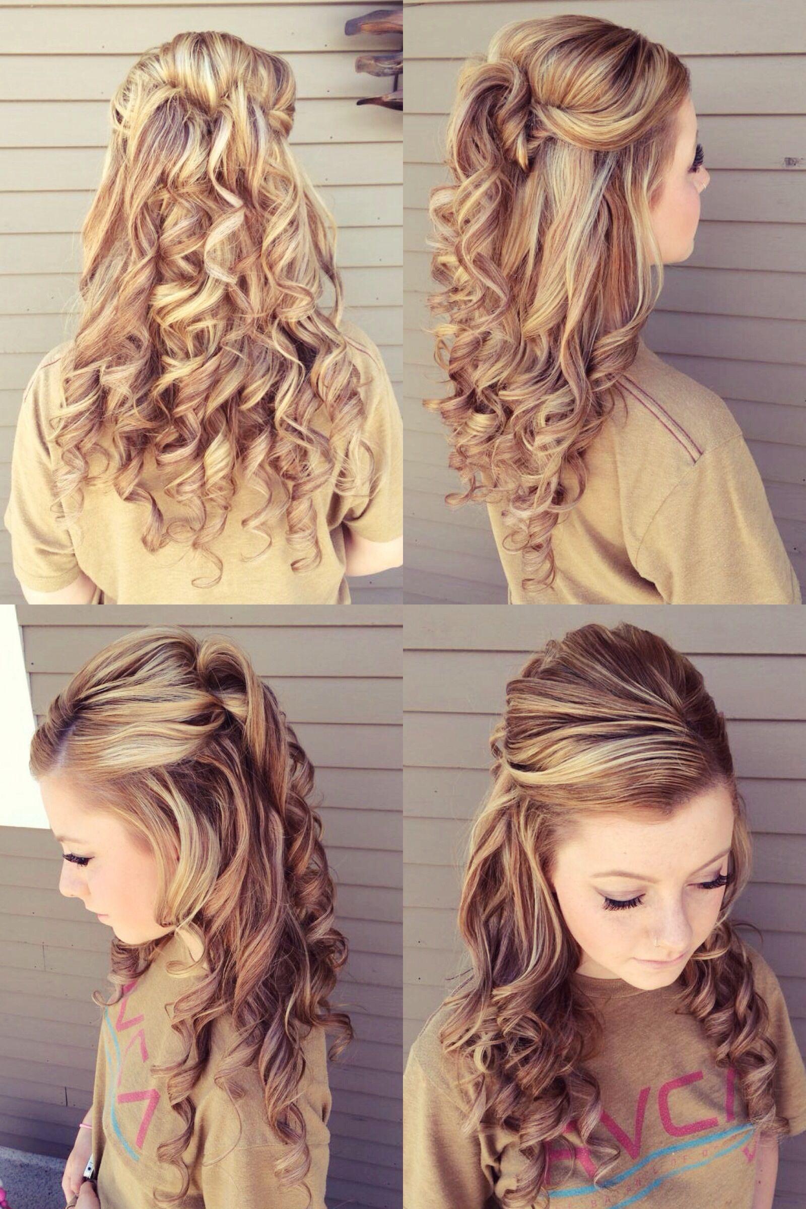 prom hair style, half up, half down. my hairdresser added so much