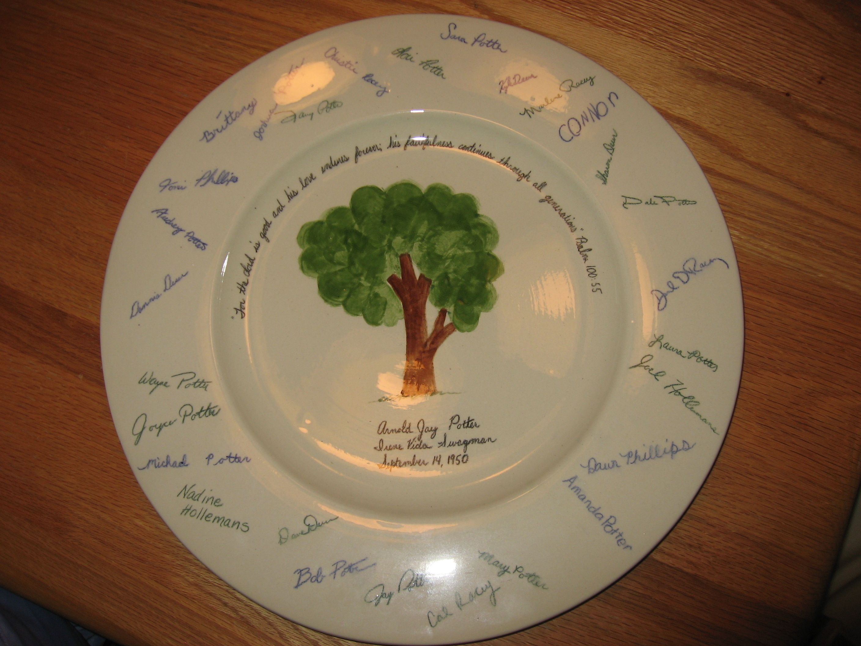 A Signature Plate. I had our whole family sign a piece of paper. Then I transferred all the signatures to the rim of a platter. I painted a tree, the verse from Psalm 100:55, and our parents names and the date they got married.