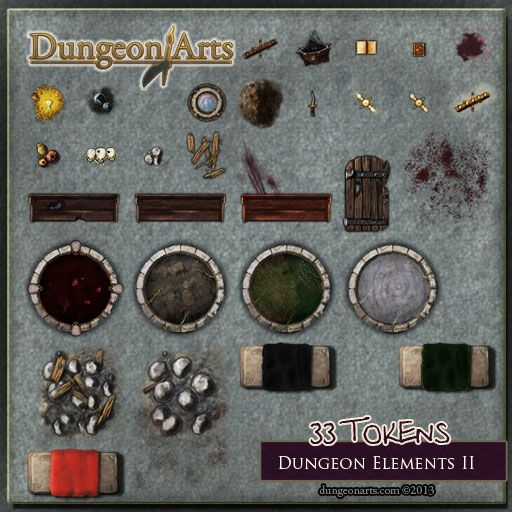 Dungeon Elements 2 - Contact Sheet - Fantasy Map Objects for use in tabletop role playing games or virtual tabletops like Roll20.net