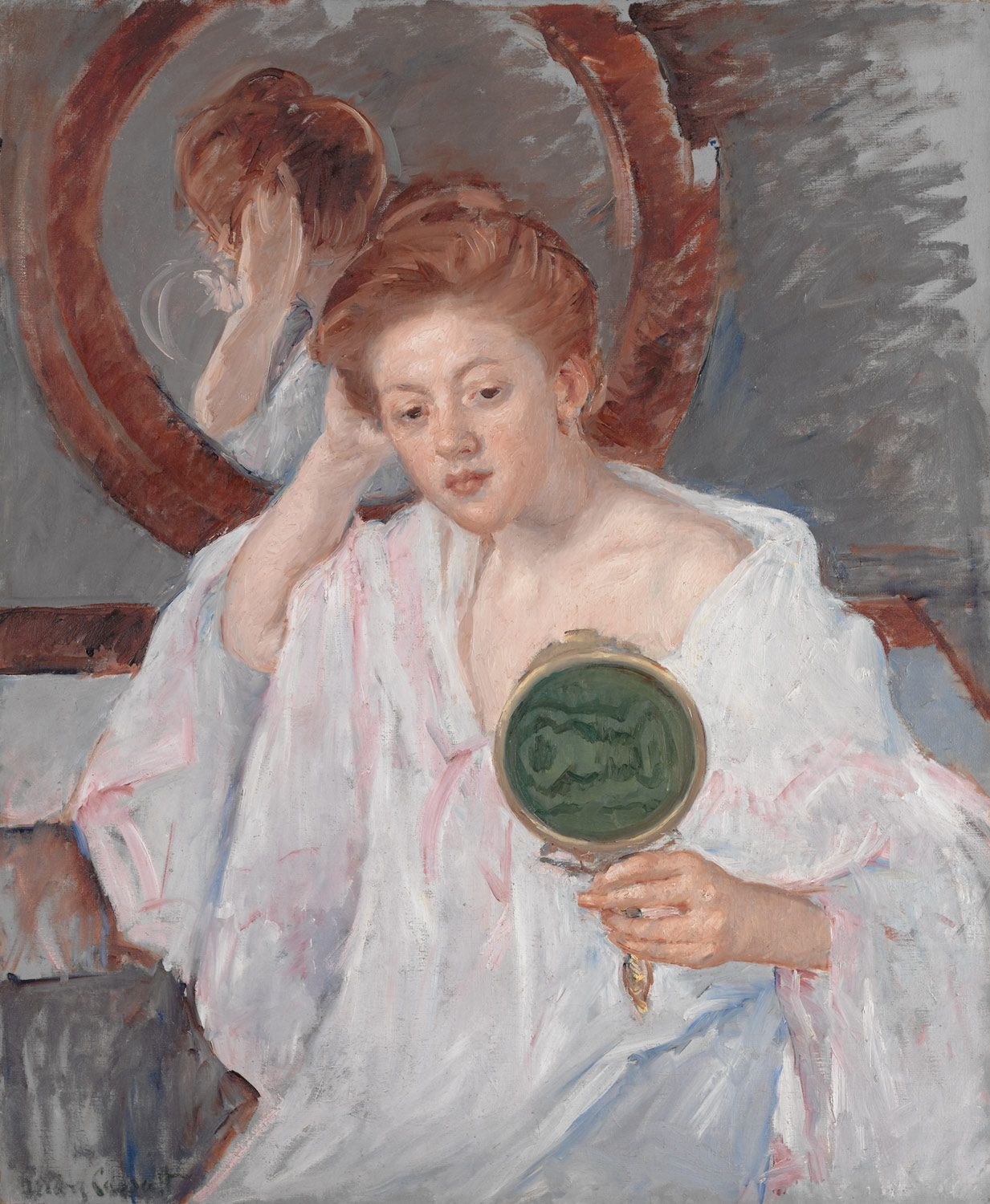woman holding hand mirror. Title: Denise At Her Dressing Table, Artist: Mary Stevenson Cassatt Medium: Hand-Painted Art Reproduction Woman Holding Hand Mirror D
