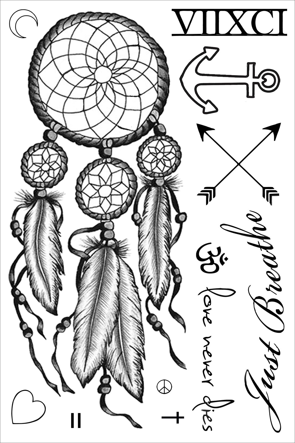 Miley cyrus dreamcatcher temporary tattoo sheet miley for Dreamcatcher tattoo template