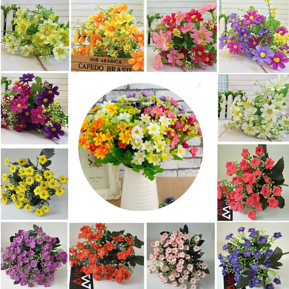 1 Bunch Artificial Fake Silk Daisy Flower Bouquet Home Wedding Party