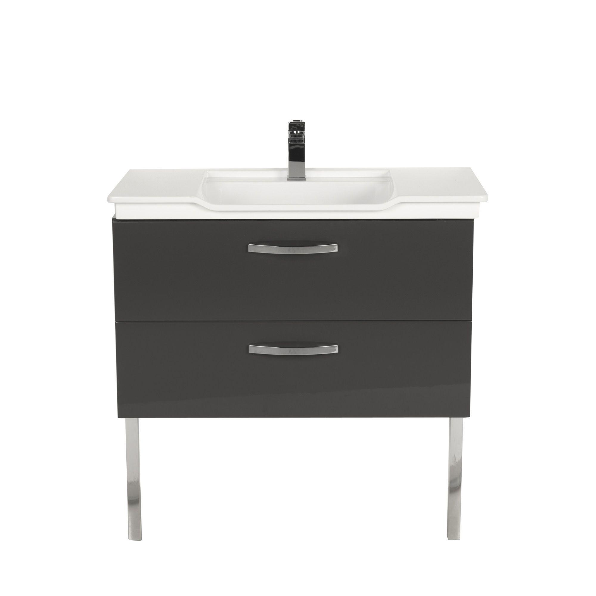 Meuble Salle De Bain Swing ~ meuble sous vasque simple de salle de bains 90cm gris luxy les