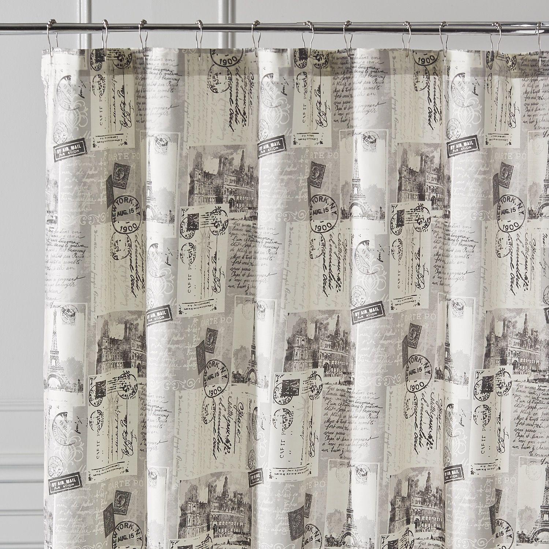 Parisian Poste Shower Curtain Gray Curtains Unique Curtains