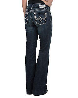 889e2c1ce79c8b Ariat Women's Dark Wash Mid Rise Wide Leg Trouser Jean | Clothes ...