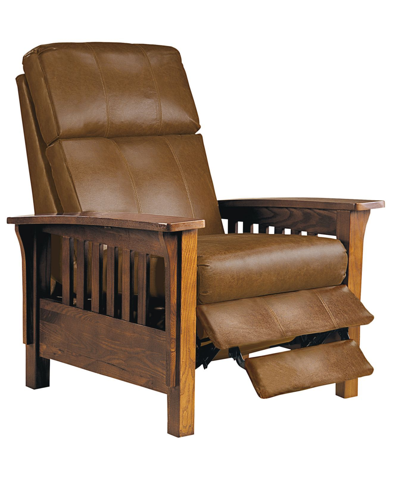 Nicolas Ii Mission Style Leather Recliner Chair 33 W X 40 D 41 H Chairs Recliners Furniture Macy S