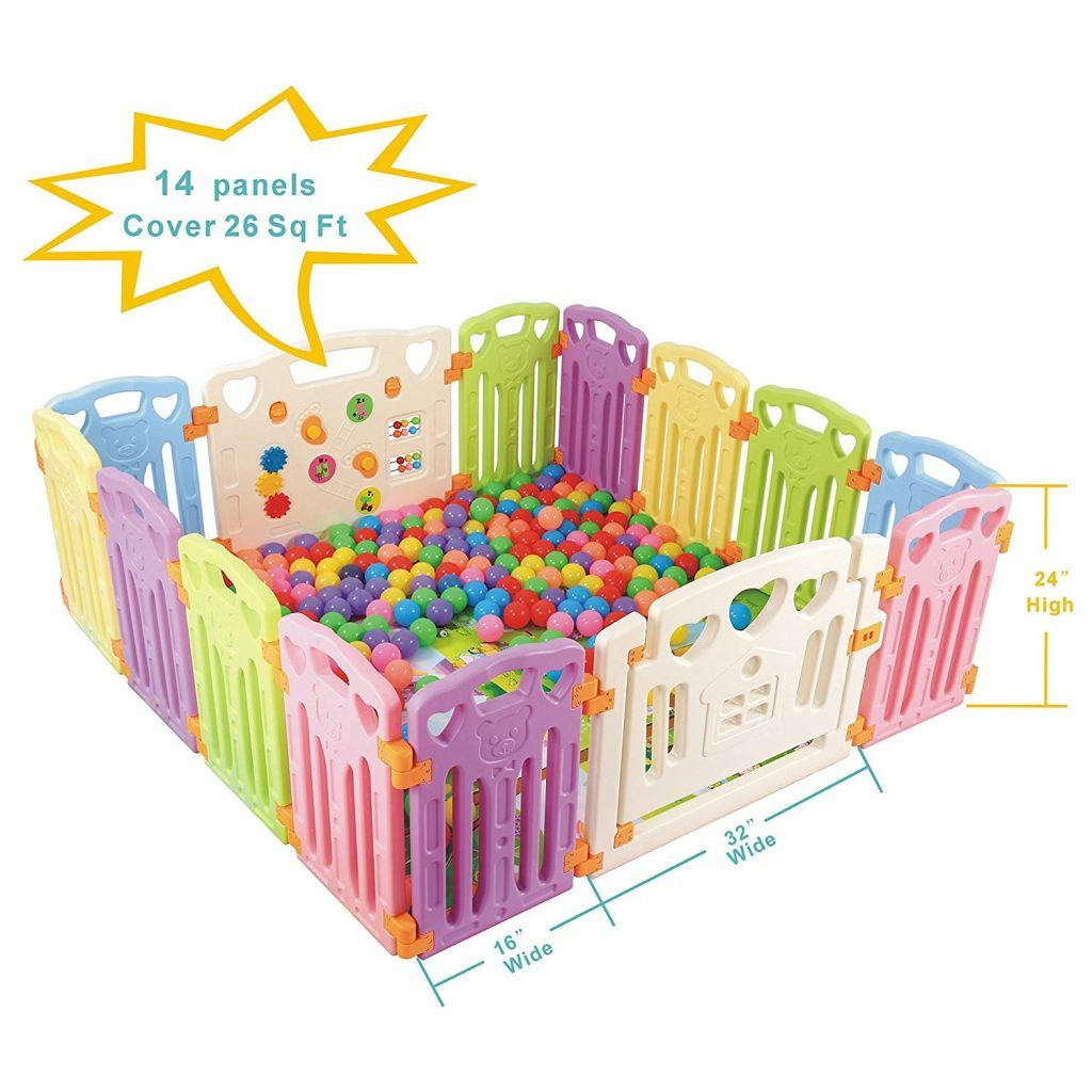 14 Panels Safety Activity Play Center Yard Baby Playpen Kids Home Indoor Outdoor
