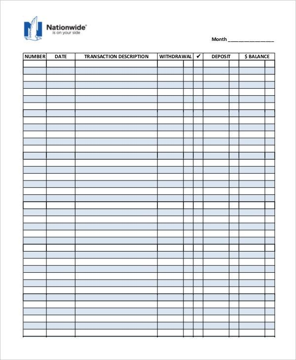 Printable check register basic business template Bookkeeping