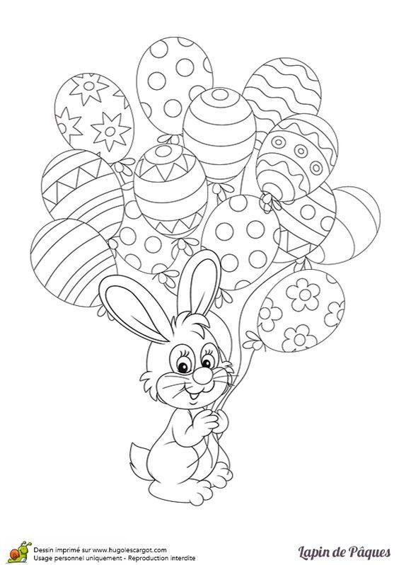 Lapin De Paques Et Les Oeufs Ballons, page 2 sur 12 sur HugoLescargot.com | Coloriage lapin de ...