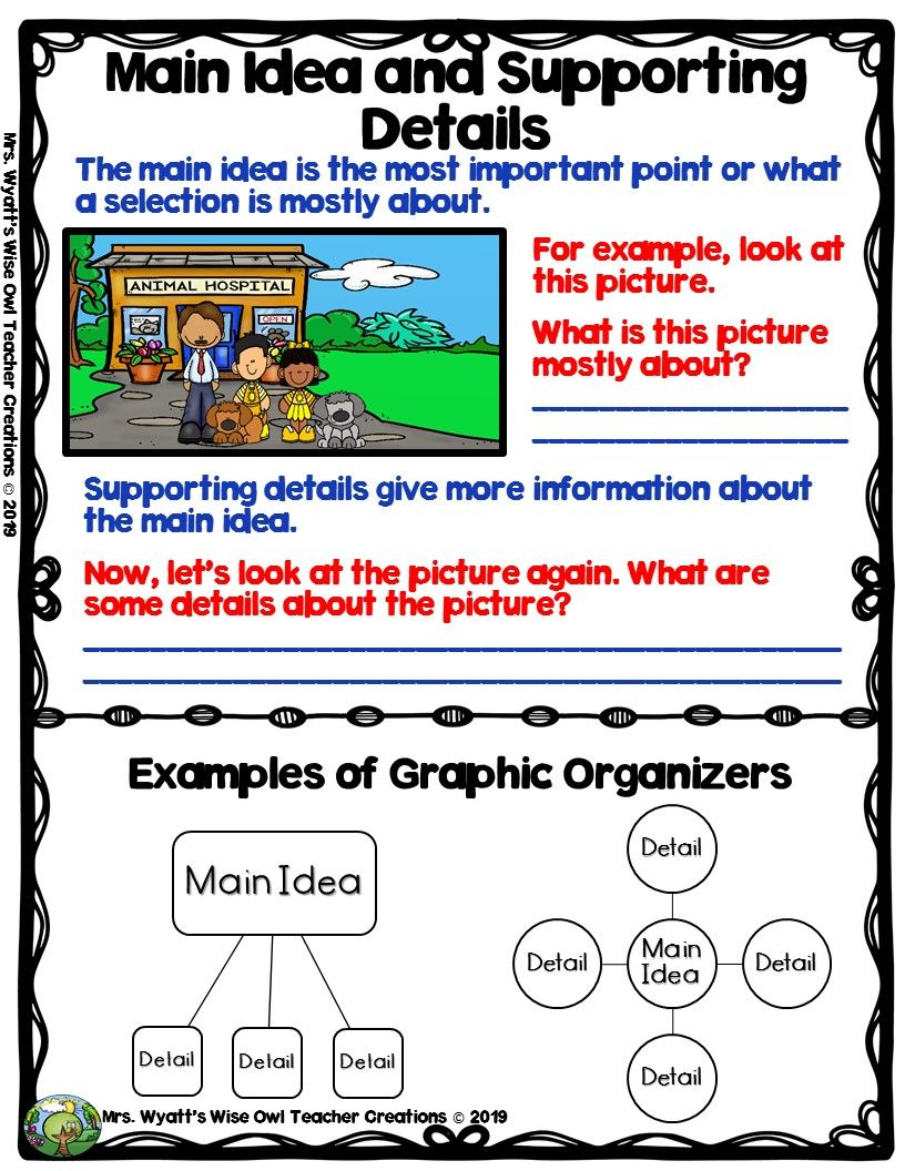 Main Idea And Supporting Details Anchor Chart Freebie From Mrs Wyatt S Wise Owl Teacher Creations Supporting Details Anchor Chart Main Idea Supporting Details